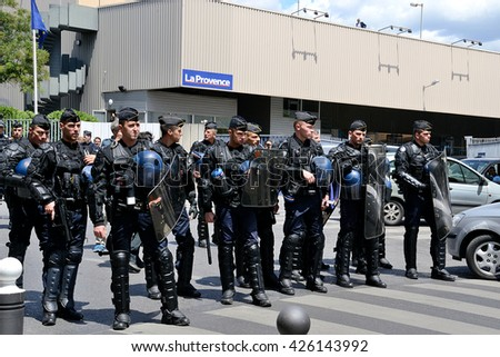 Marseille, France - May 23, 2016 : French gendarmes pictured during a demonstration to protest against the government's planned labor reforms - stock photo