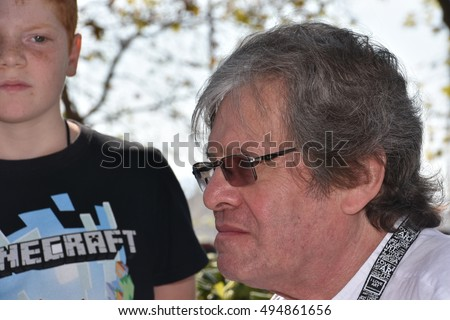 Marseille, France - October 06, 2016 : French cartoonist Gerard Gibo at the 5th edition of the International festival of press and political cartoons at l'Estaque.