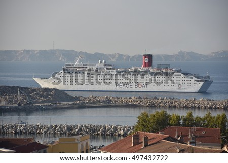 Marseille, France - October 12, 2016 : The Ocean Dream cruise ship operated by Peace Boat, a Non Governmental Organization Japanese who campaigns for world peace