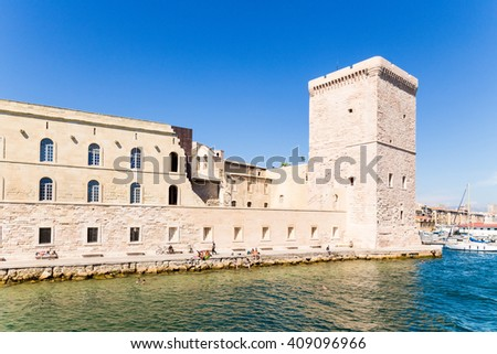 Marseille, France. The ruins of the fort St. John (1660) and the tower of King René I (1423) at the entrance to the Old Port