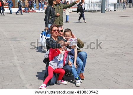 MARSEILLES, FRANCE - APRIL 23, 2016: Family selfy, The Old Port. Marseille is the second largest city in France after Paris and the center of the third largest metropolitan area  - stock photo
