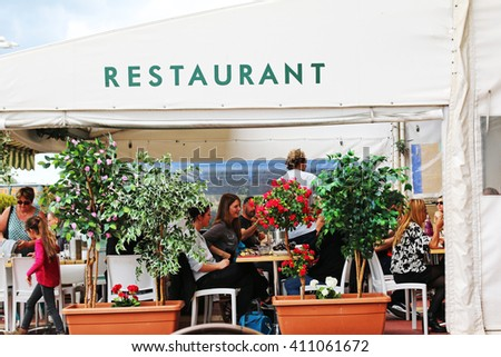 MARSEILLES, FRANCE - APRIL 23, 2016: Restaurant, The Old Port. Marseille is the second largest city in France after Paris and the center of the third largest metropolitan area  - stock photo