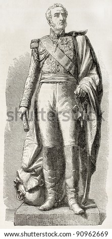 Marshal Louis Gabriel  Suchet, Duke of Albufera. Statue in Lyon. Created by Marc after sculpture of  Dumont, published on L'Illustration, Journal Universel, Paris, 1858 - stock photo