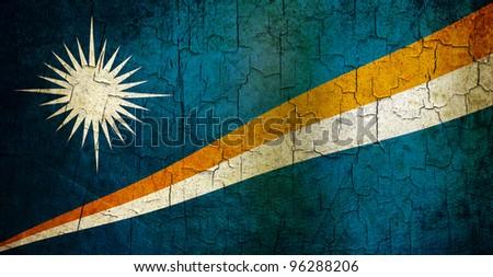 Marshall Islands flag on a cracked grunge background - stock photo