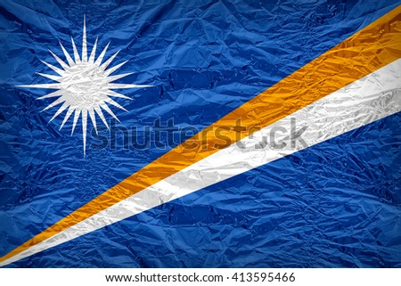 Marshall Islands flag pattern overlay on floyd of candy shell, vintage border style - stock photo