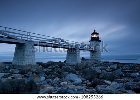 Marshall Point Lighthouse at sunset, Maine, USA - stock photo