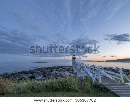 Marshall Point Lighthouse in Maine at twilight. - stock photo