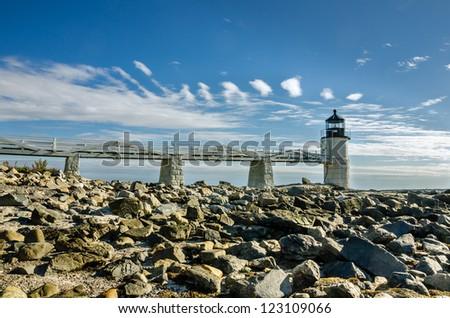 Marshall Point Lighthouse, Port Clyde Harbor, Maine - stock photo