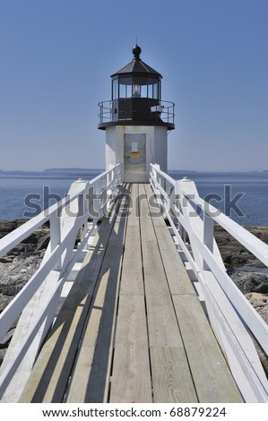 Marshall Point Lighthouse, Port Clyde, St. George Peninsula, Maine, USA - stock photo