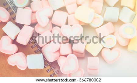 marshmallows candy, vintage colour tone