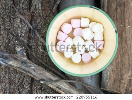 Marshmallows in pink and white in an old bowl on firewood out camping - stock photo