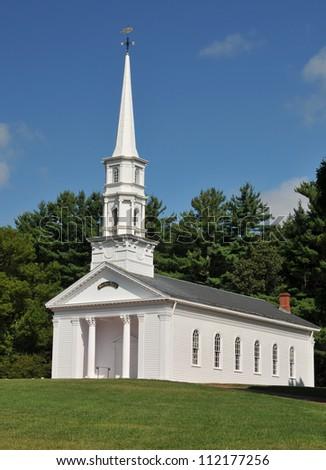 Martha Mary Chapel, a white clapboard New England church, in Sudbury, MA - stock photo