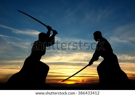 Martial art sword combat silhouettes illustration on sunset background - stock photo