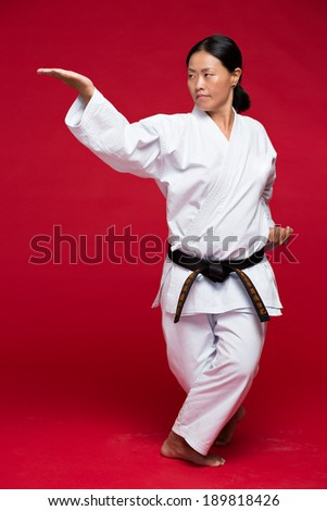 Martial arts woman in kimono practicing karate - stock photo