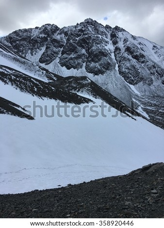 Martial Glacier and mountains in Ushuaia, Argentina - stock photo