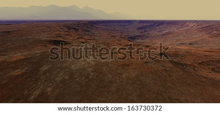 Martian crater terrain with distant hills - stock photo