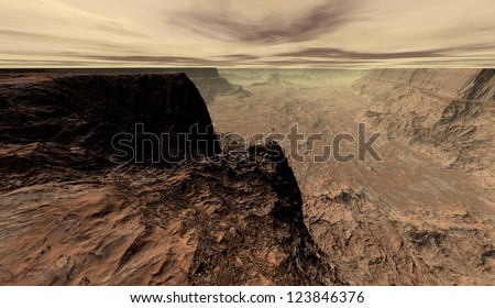 Martian mesa overlooking dried-out alluvial drift - stock photo