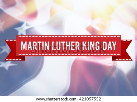 Martin Luther King Day sign on USA flag background - stock photo