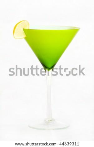martini and key lime slice isolated on white - stock photo