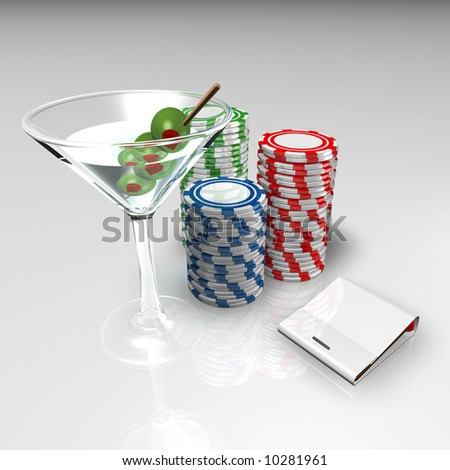 Martini, Blank Chips and Blank Match book - stock photo
