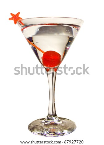 Martini cocktail isolated in white background
