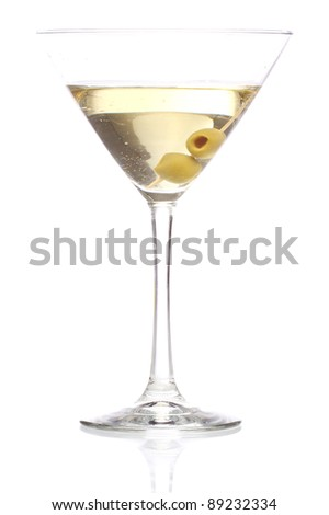 Martini cocktail with olives inside over white background - stock photo