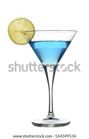 martini drink with lemon slice isolated - stock photo