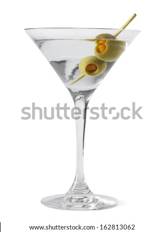 Martini Glass and Alcohol with Green Olives Isolated on White Background. - stock photo