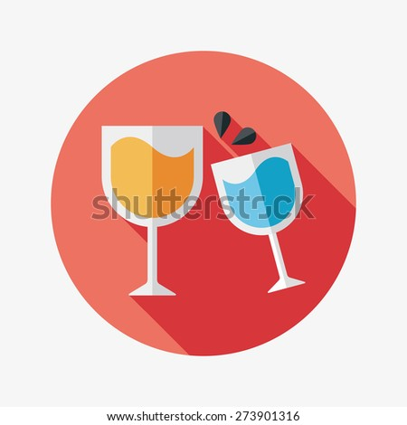 Martini glass cheers flat icon with long shadow - stock photo