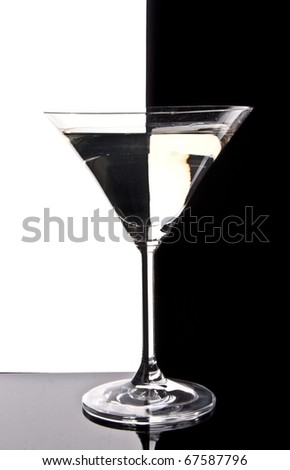 Martini glass on black  and white background - stock photo