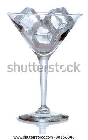 Martini glass with ice cubes blue color
