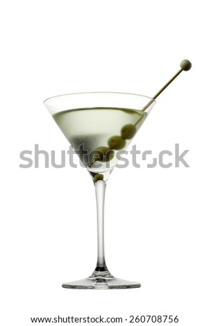 Martini glass with olive isolated  on white background