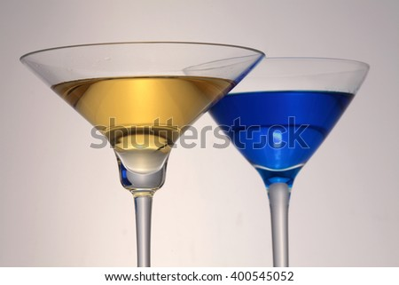 Martini glasses isolated on white background