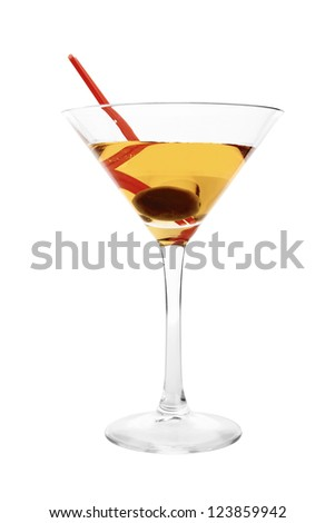 martini isolated on a white background with olives