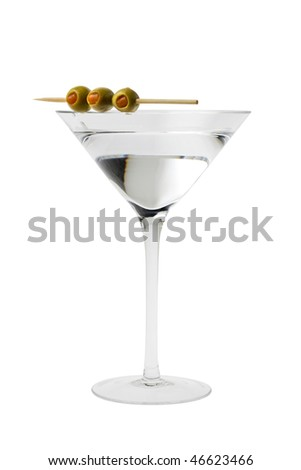Martini mixed drink with olive garnish on a white background close up