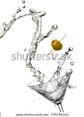 Martini with green olive up - stock photo