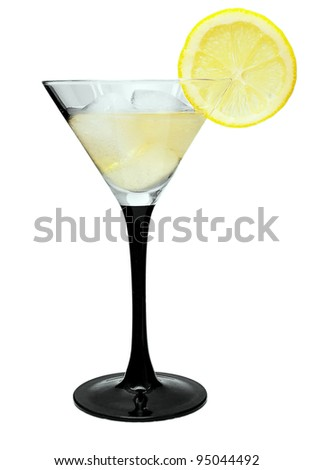 Martini with lemon and ice on a white background
