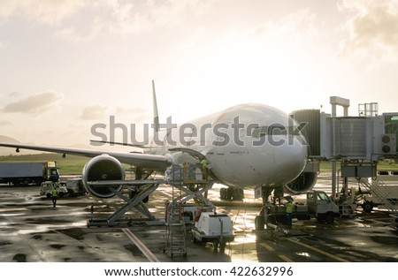 MARTINIQUE, FRANCE - JANUARY 2nd, 2016: Boeing 777-300ER of AIRFRANCE docked in Fort-de-France Airport