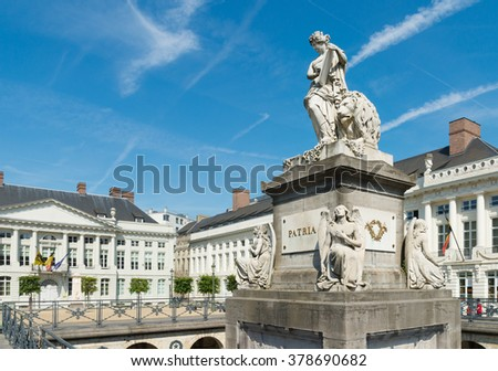 Martyrs square with the Patria memorial in Brussels. The current name of this square refers to the dead of the September days of the Belgian Revolution of 1830. - stock photo