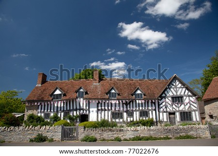Mary Arden's Farm and house where William Shakespeare's mother grew up England UK - stock photo