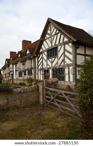 Mary Arden's house - mother of William Shakespeare - in the village of Wilmcote near Stratford upon Avon, England, UK - stock photo