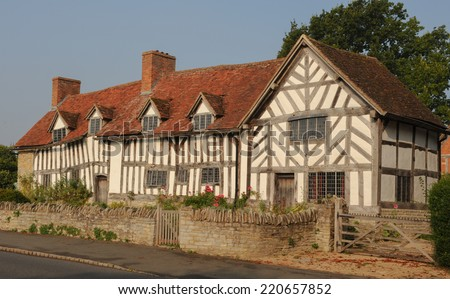 Mary Arden/s House, mother of William Shakespeare, in Wilmcote near Stratford-upon-Avon, Warwickshire, England, UK - stock photo