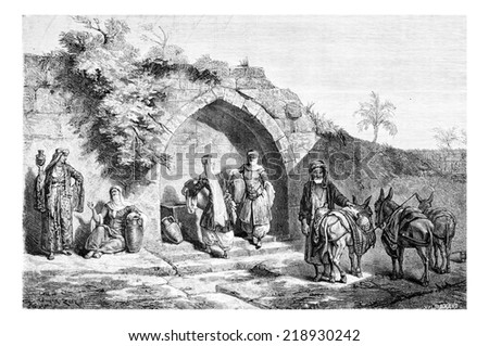 Mary's Well in Nazareth in Israel, vintage engraved illustration. Le Tour du Monde, Travel Journal, 1881 - stock photo
