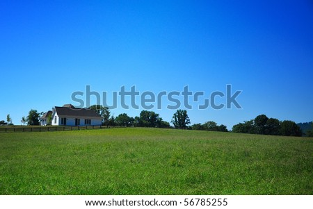 Maryland country home in a blue sky back ground - stock photo