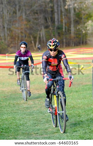 MARYLAND - NOVEMBER 7: Cyclists compete in the Tacchino Ciclocross competition on November 7, 2010 in Upper Marlboro, Maryland.