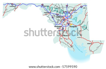 Maryland State Road Map Interstates Us Stock Vector - Maryland road map