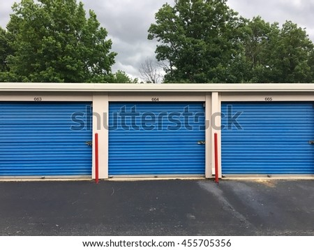 MARYLAND, USA - JUNE 28, 2016: Blue storage units at a storage unit facility in Maryland.