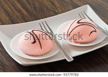 Marzipan cakes. - stock photo