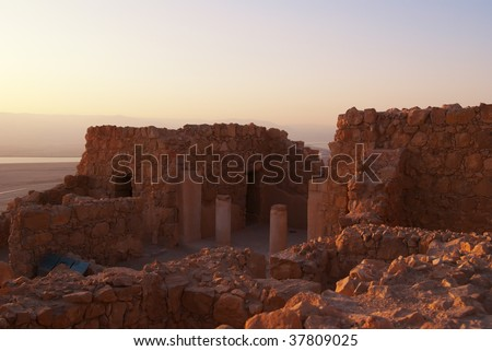 Masada,located in the Judean Desert in Israel is a fortress / palace built by a king Herod in the late 2nd century BC. - stock photo