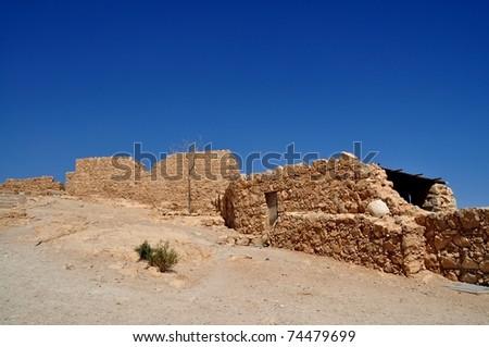 Masada, ruins of roman fort of king herodes - stock photo